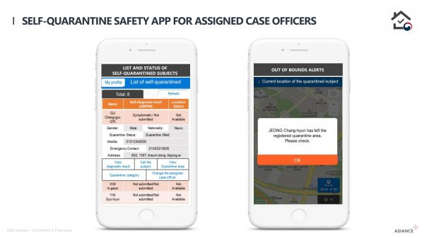 Self-quarantine safety app for assigned case officers