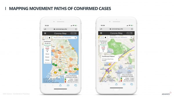 Mapping movement paths of confirmed cases